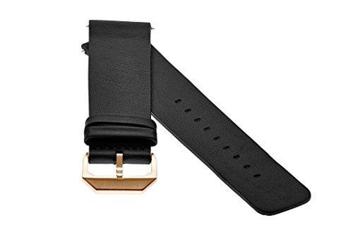 slow - Schwarzes Lederband mit Rose goldenem Verschluss - 20mm Breite