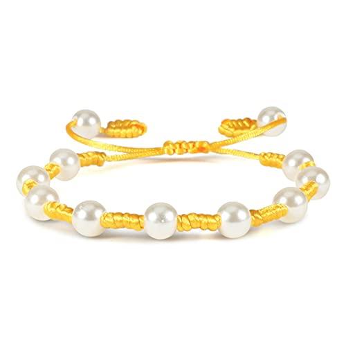 CXWK Pulsera de Perlas de Cuerda de 11 Colores, Pulseras Trenzadas con Nudos Hechos a Mano con Cuentas para Mujer, Regalo, joyería de Moda de la Amistad