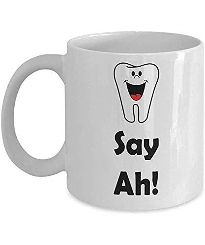 Grappige tandarts Gift Mok Zeg Ah! Witte Keramische Thee en Novelty Koffie Mokken, Keramische Thee Beker, 11 OZ