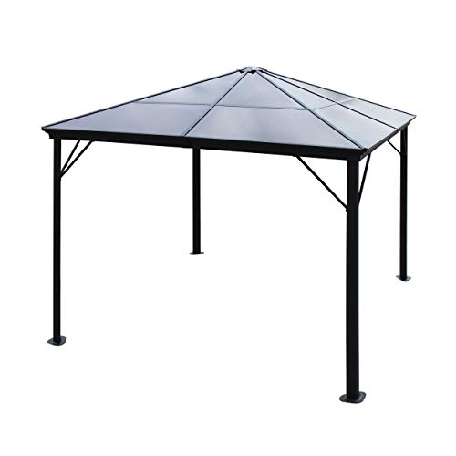 Great Deal Furniture Halley Outdoor 10 x 10 Foot Black Rust Proof Aluminum Framed Hardtop Gazebo (No Curtains)