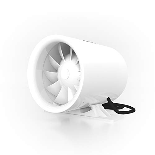 TerraBloom 6' Silent Inline Duct Fan, 26W, 188 CFM, Quiet Mixed-Flow Energy Efficient Blower for Air...
