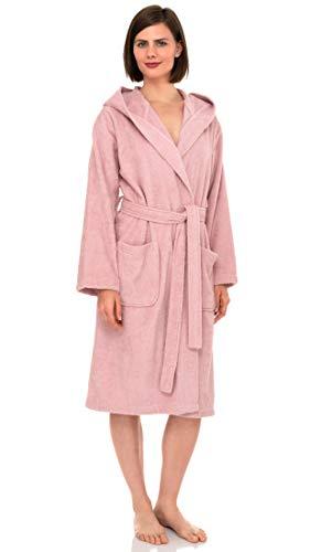 Albornoz de algodón turco para mujer con capucha, para albornoz, Rubor coral, XS