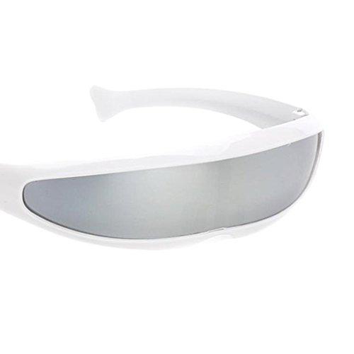 Sharplace Gafas de Sol con Visera de Lente Estrecha 3xFuturistic Montura Blanca Espejo Plateado