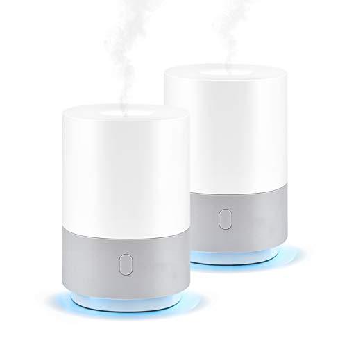 Ominihome Aroma Diffuser 100ml, kleiner Luftbefeuchter mit 7 Farben Lichter, USB, tragbare Duftlampen Humidifier mit automatischer Abschaltfunktion, Aromatherapie für Yoga/Spa/Schlafzimmer (2 Stück)