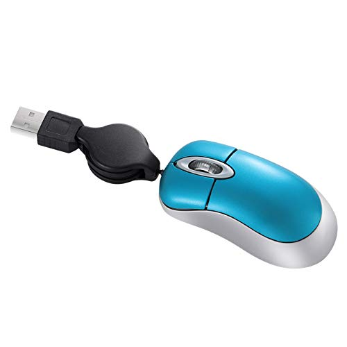 SOLUSTRE Mini Ratón Óptico USB con Cable con Cable Retráctil Ratón de Ordenador Silencioso para Ordenadores Portátiles Color Aleatorio