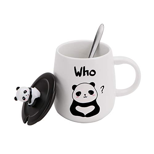Ceramic Coffee Mug with Lid & Spoon, Tea Cup for Office and Home, Dishwasher and Microwave Safe (White Panda D)