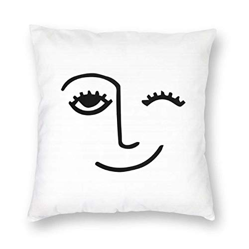 N/A Winky Face Square Throw Pillow Covers Sofa Cushion Case Home Decor for Bedroom Living Room Car Gift