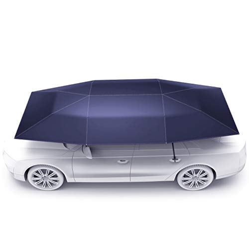 Rooftop Tent, Automatic Folding Remote Control Car Umbrella with Removable Charger, Multifunction Portable Auto Protection Car Tent Sunshade, Movable Carport Canopy for Outdoor Camping Tent(Indigo)