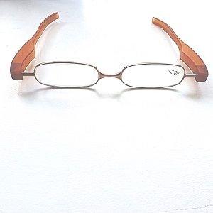 Reading Glasses Saddle Brown Big Panini Pod Folding Readers-Strength +1.00
