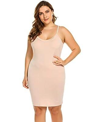 IN'VOLAND Women Plus Size Mini Slip Adjustable Spaghetti Strap Camisole Mini Dress Casual V-Neck Nightgown Apricot