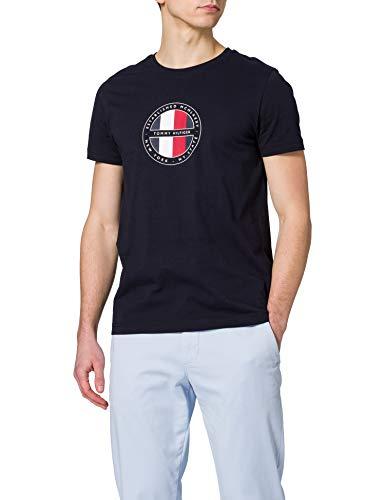 Tommy Hilfiger Circular Logo tee Camiseta, Cielo del Desierto, S para Hombre