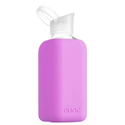 NUOC | Botella de agua cristal | 800 ml | Rosa Oscuro | Botella de Agua Reutilizable | Botella de Cristal | Funda de Silicona | Bebidas Frías y Calientes | sin BPA | Ecológica | Deporte, Oficina, Yoga