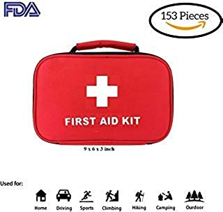 First Aid Kit 153 pieces 2 in 1 waterproof FDA approved for outdoors camping hunting hiking survival and emergency at outdoor camping hiking home workplace travel and car