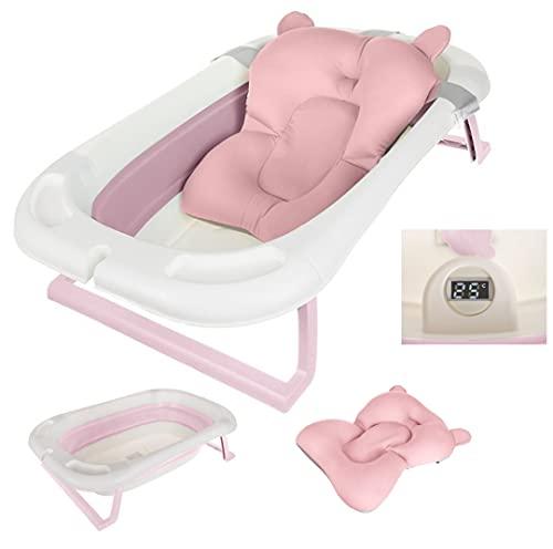 vasca per bagnetto neonato vaschetta bambini bagno per viaggio con termometro acqua digital e riduttore (Rosa)