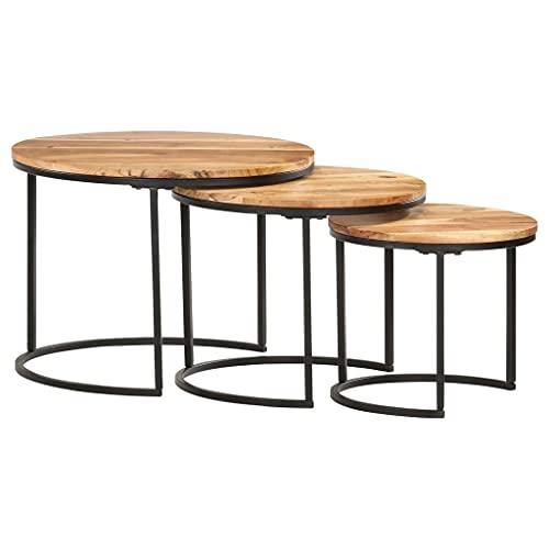 Tavolino da caffè, tavolino laterale Tavolino da cocktail Tavolo centrale Divano Tavolo Tavolino da tè Tavolini ad incastro 3 pezzi Legno massello di acacia