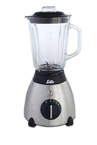 Solis Blender met roestvrijstalen behuizing en glazen kan, voor bijzonder harde groenten en fruit, 5 snelheidsniveaus, 1,5 l, Quick Blender Plus