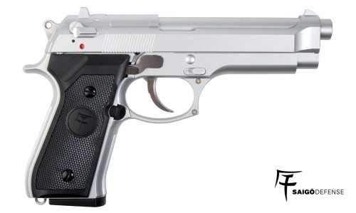 SAIGO Airsoft Pistole 92 Silber- Semi Automatische Gas (0,5 Joule)