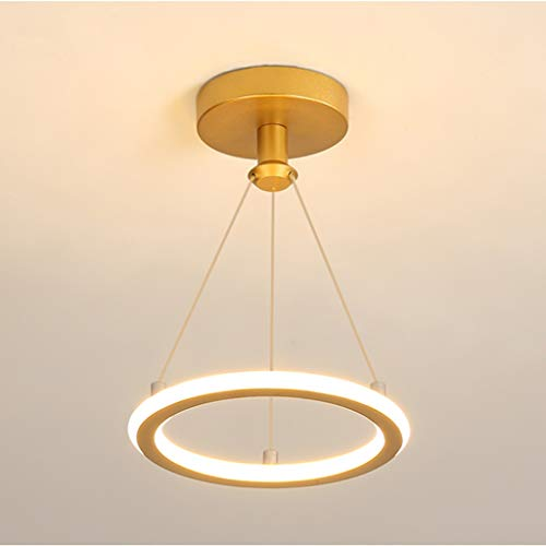 CXXDD Candelabro LED Redondo Moderno en Pasillo para Pasillo, Pasillo, Entrada, guardarropa, decoración del hogar nórdico, luz de Techo Dorada (Color : Gold)