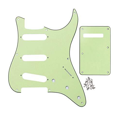 FLEOR 8 agujeros Strat Pickguard SSS Style Scratchplate y Tremolo Cavity Cover y tornillo de montaje para guitarra Stratocaster Vintage, 3 capas verde menta