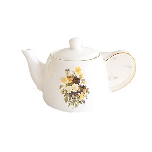Juego de tazas de café de cerámica con flores pequeñas retro francés, juego de té de la tarde, tetera de flores pequeñas