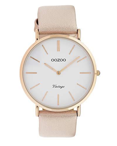 Oozoo Vintage Damenuhr mit Lederband 40 MM Rose/Weiß/Pinkgrau C9962