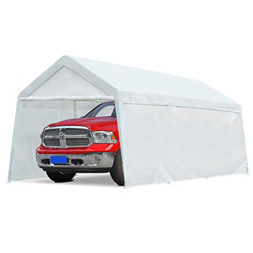10'x20' Heavy Duty Carport Garage Outdoor Car Canopy White Portable Car Shelter