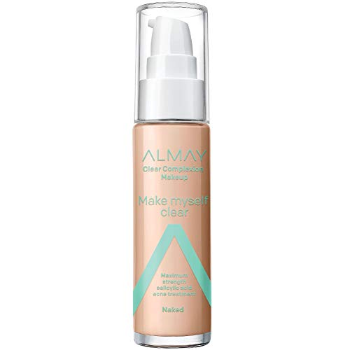 Almay Clear Complexion Makeup, Matte Finish Liquid Foundation with Salicylic Acid, Hypoallergenic, Cruelty Free, Fragrance Free, Dermatologist Tested, 300 Naked, 1.0 oz