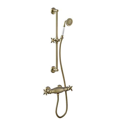 TRES-CLASIC Kit de ducha termostático · Barra deslizante long. 600 mm. · Ducha anticalcárea Ø 78 mm. · Flexo doble engatillado.