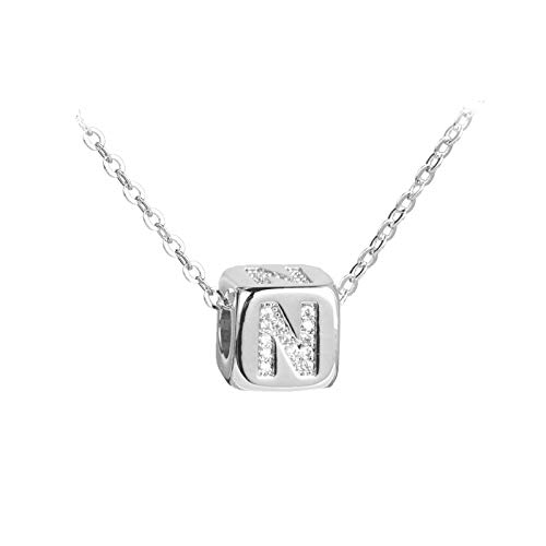 FGT Silver Initial Letter Necklace N Necklace Crystal Dice Pendant Gift for Best Friend Daughter Wife Mum