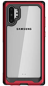 Ghostek Atomic Slim Galaxy Note 10 Plus Clear Case with Super Space Metal Bumper Military Grade Aluminum Heavy Duty Protection Wireless Charging Compatible 2019 Galaxy Note10+ 5G  6.8 Inch  -  Red