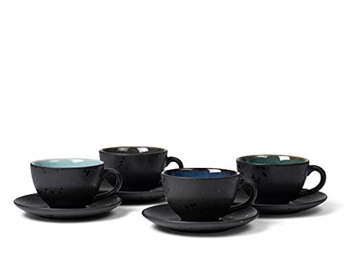 BITZ Tassen, Kaffeetassen mit Untertasse, Steingut, 24 cl, 4er-Set, Blau, Grün, Hellblau, Grau