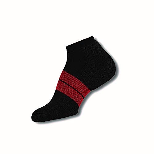Thorlos 84 N Max Cushion Running Low Cut Socks, Black/Red, Large