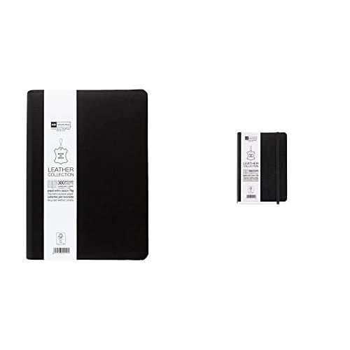 Miquelrius - Cuaderno flexible en piel, tamaño 4º, Con índice alfabético, 300 hojas, Cuadrícula 5 mm, con goma, color negro, 152 x 210 mm + Cuaderno flexible en piel, tamaño 8º