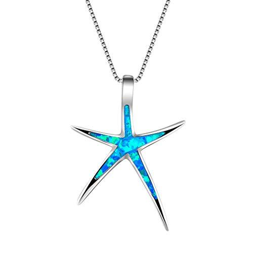 YAZILIND S925 Plata de Ley Simple Clavicle Cadena Collar Estrella de mar ópalo Colgante señoras día de la Madre Regalo joyería (Azul)