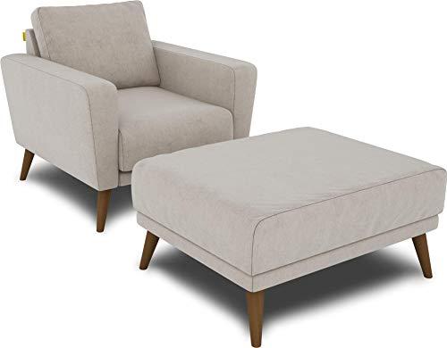 KAUTSCH Lotta Hochwertiges Set: Sessel inklusive Hocker in Creme
