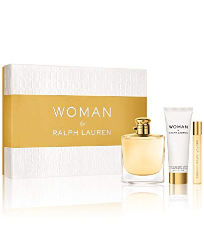 Woman By Ralph Lauren Gift Set (Perfume 3.4oz 100ml + Body Lotion 2.5 oz 75ml + Roller Perfume .35oz 10ml)