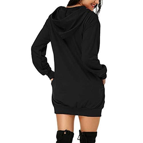 Foliner Suéter con Capucha Manga Larga Mujer de Longitud Media Sudadera Diseño de Capucha Ropa de Mujer de Gran tamaño con Capucha