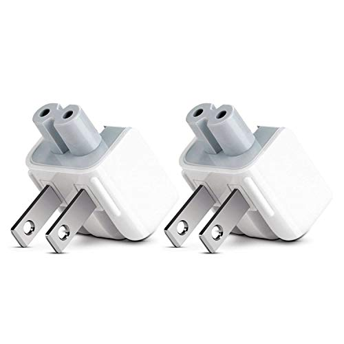 Droya AC Power Adapter Wall Folding Plug Duck Head,US Standard Plug Duck Head Compatible with MacBook Pro/MacBook Air/Mac iBook/iPhone/iPod AC Power Adapter (2 - Pack)