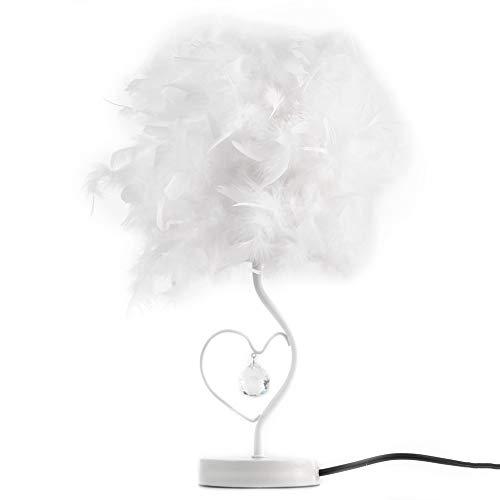 Lámpara de mesa de escritorio portátil de plumas de metal con diamantes de imitación para dormitorio, sala de estar, mesa de noche, lámpara decorativa de alto brillo, ahorro de energía