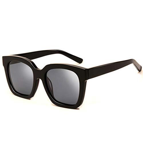 wgg De Venta Libre Gafas de Sol polarizadas para Hombres y Mujeres Retro Cuadrado de vidrios de Marco Negro Que bloquean el 80% de la luz dañina Vasos Ligeros (Color : Dark Gray Lens)