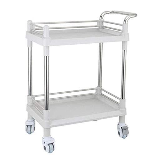 LXYZ Rollwagen, 2-stufiger Salon Beauty Spa Friseur Rollwagen, Zahnarztarztwagen, Stahl/Kunststoff, Weiß (Größe: M-64,5 × 44,5 × 90 cm)