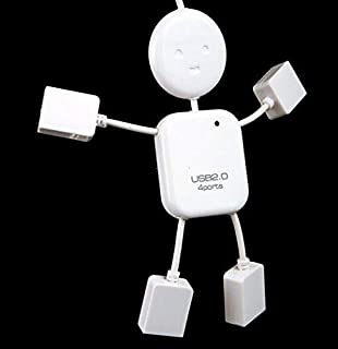 4 Port Usb 2.0 High Speed Hub For Pc Laptop Doll Man Design White[c1650 ]