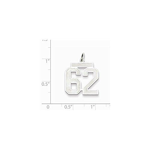 Diamond2Deal Colgante de plata de ley de satén medio número 62 para mujer