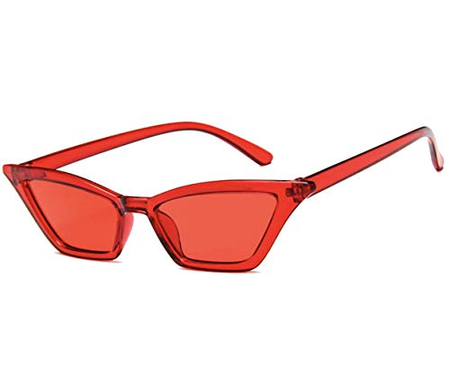 Retro Vintage Tiny Lens Frame Skinny Cat Eye Sunglasses for Women Colorful Mini Narrow Cateye Small Sunglasses by W&Y YING (red)