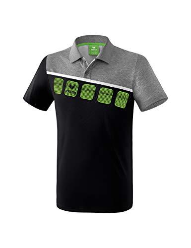 Erima 5-C Poloshirt Mixte Adulte, Noir/Gris chiné/Blanc, FR : 2XL (Taille Fabricant : XXL)