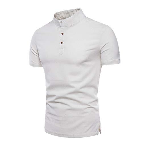 Stand up Collar Manga Corta Algodón Cáñamo T-Shirt Moda Algodón Cáñamo Sólido Camiseta Hombre