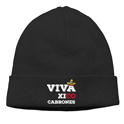 Viva México Cabrones Gorro de punto cálido para hombre y mujer, diseño de calavera, color negro