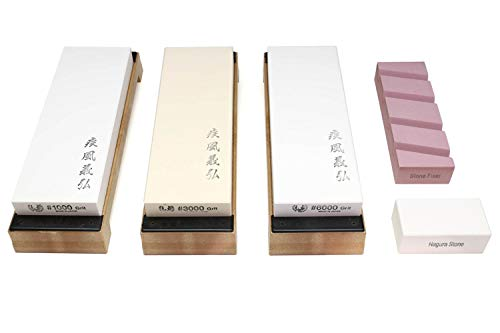 Yoshihiro Professional Grade Toishi Japanese Whetstone Knife Sharpener Water Stones (SET)