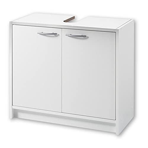 SMASH Badezimmer Waschbeckenunterschrank in Weiß matt - Schlichter Bad Unterschrank Badezimmerschrank mit viel Stauraum - 63 x 55 x 29 cm (B/H/T)