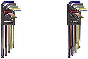 Bondhus 69637 Ball End L-Wrench Set w/ColorGuard Finish w/Extra Long Arm, 13 PC